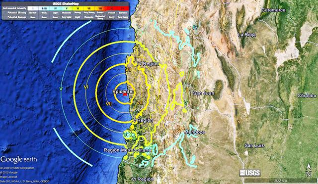mapa chile terremoto